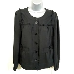 BCBGMaxAzria Button Up Blouse Ruffles Black